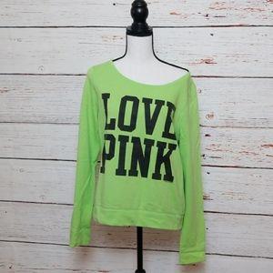 """VS PINK // green """"love pink"""" wide neck sweatshirt"""